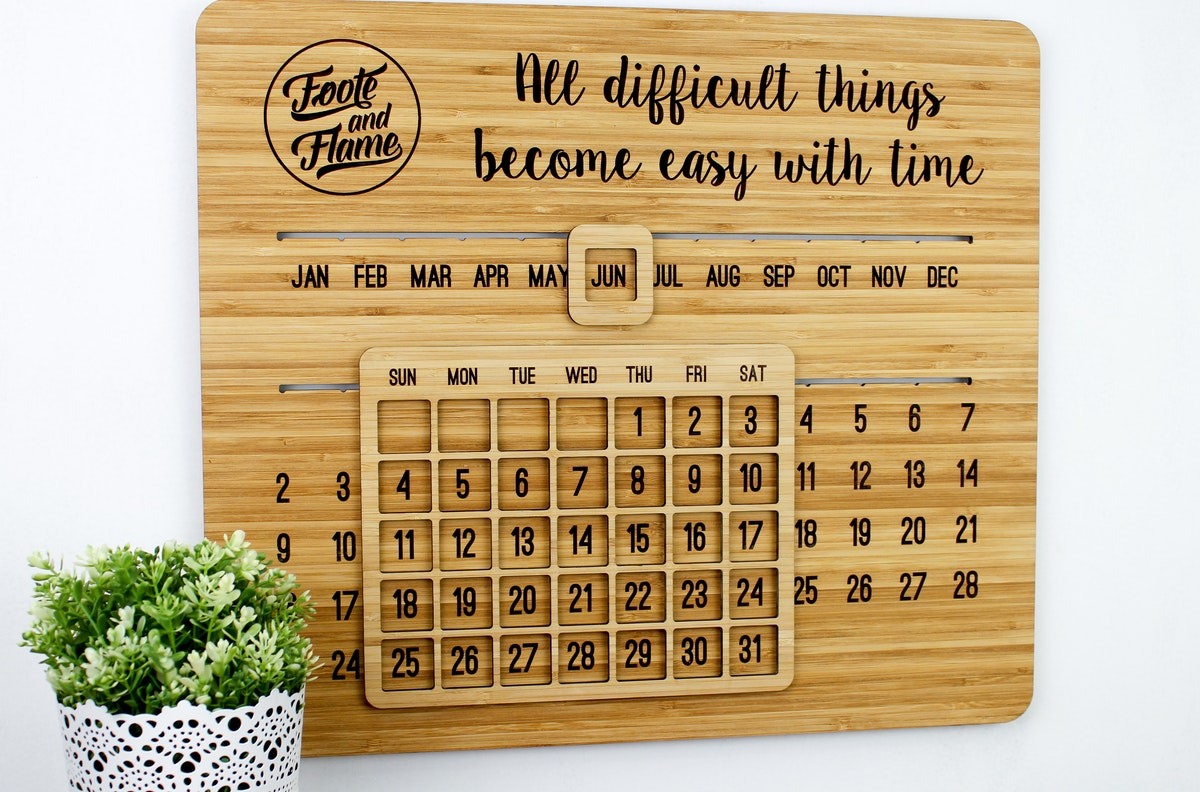 Perpetual Wall Calendar Buy Online Foote And Flame